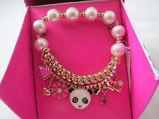 Betsey Johnson gold tone panda bear~flower~heart beaded stretch bracelet,N/B