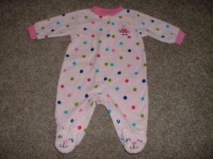 05371c662 Carter s Baby Girls Pink Polka Dot Fleece Pajamas Sleeper Size 3M 3 ...