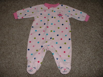 Carter's Baby Girls Pink Polka Dot Fleece Pajamas Sleeper Size 3M 3 Months 0-3 m