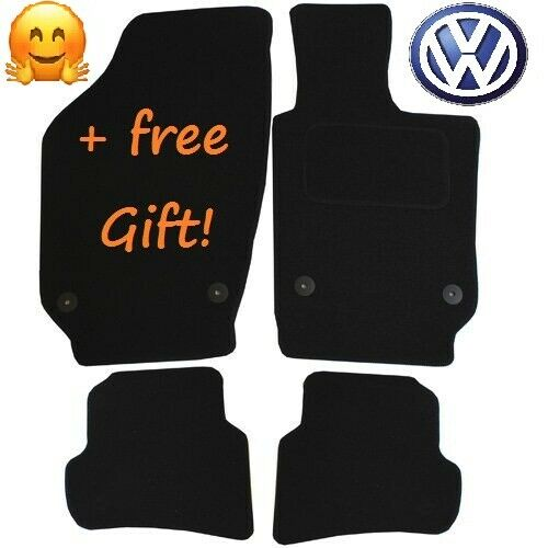 Quality Tailored Black Car Floor Mats Carpets Clip for VW Polo Mk 5 2011