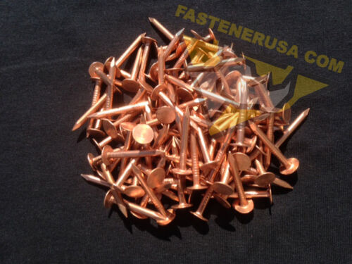 """approx. 110 pcs 1 1//4/"""" Smooth Plain Shank Copper Roofing Nails 10 gauge 3//4lb"""