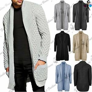 Mens Sweater Placket Long Line Open Cable Chunky Shawl Jumper ...