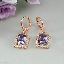 E3 18k Rose Oro Plateado cuelgan Aretes Con Amatista Púrpura Zirconia Cristal