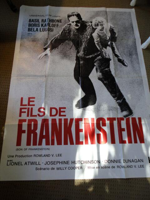 """SON OF FRANKENSTEIN 1939 ORIGINAL FRENCH MOVIE POSTER 1969 KARLOFF 47""""x63"""""""