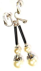 Long-Silver-Pearl-Clip-On-Earrings-Glass-Bead-Drop-Dangle-Vintage-Tibetan-Style