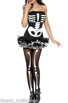 SEXY SKELETON DRESS STRAPLESS HALLOWEEN COSTUME 6 8 10