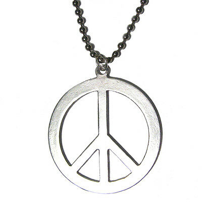Peace Sign - Silver Plated Pendant Charm Necklace Stop the Violence