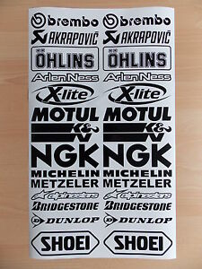 20 x Sponsoren Aufkleber Set Auto Motorrad schwarz 16 cm Breit