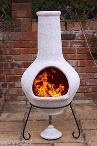 Image Is Loading JUMBO Clay Chimenea Grey Clay Chiminea Garden Heater