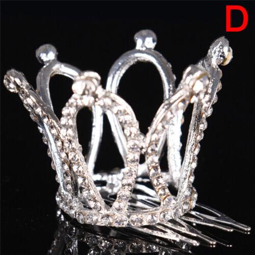 Frauen-Dame Girl Mini Strass Crown Braut Tiara Haar Kamm Pin HochzeAB
