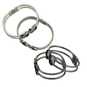 4-Stueck-Schwarz-Silber-Messing-Manschette-Armreif-Rohlinge-Armband-Schmuck