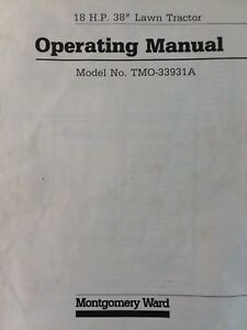 montgomery ward 18 h p 38 lawn tractor mower owner parts manual rh ebay com