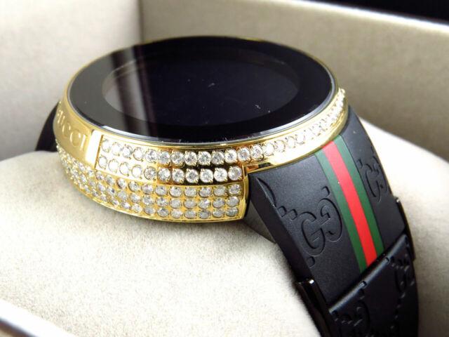 848cab4b174 Custom New Mens I Gucci Digital Gold Case Full Diamond Watch 6.5 Ct YA114207