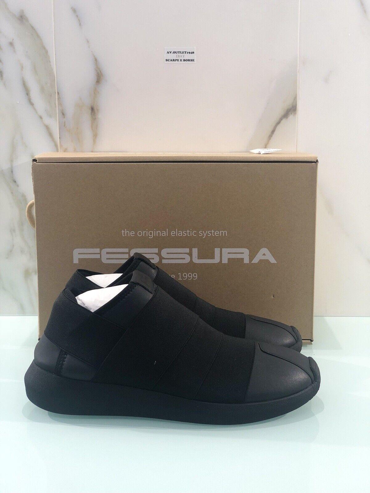 Sneaker Fessura men Twins Three TWI015 In Pelle E Tessuto Nera Casual Sneaker