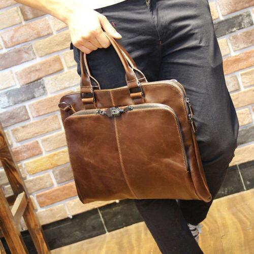 Business Men/'s Retro Crazy Horse Leather Handbag Multi-function Briefcase Bag