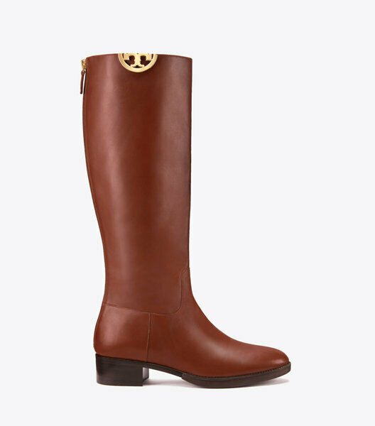 495 Tory Burch SIDNEY Riding Boot Tall Flat Equestrian Booties 7.5 gold Logo
