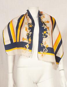 Annees-60-francais-vintage-long-imprime-fleuri-SOIE-foulard-47-034-X-15-034