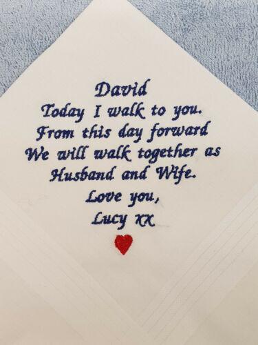 Bride to Groom Wedding Gifts Hankies Handkerchief personalised Present