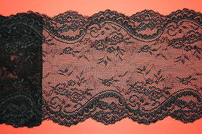 "* Black Vintage Inspired Wide Stretch Lace Trim 6""/15cm Trimming Lingerie Goth"