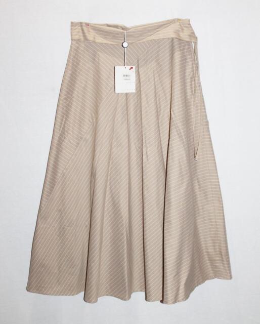 PENNY BLACK Designer Beige Stripe Fold Over Waist Skirt Size S BNWT #SP04