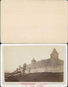 France-Carcassonne-La-cite-Vintage-CDV-albumen-carte-de-visite-CDV-tirag