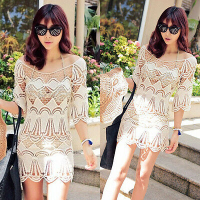 Sexy Women Lace Crochet Hollow Bikini Cover Up Short Sleeve Beach Dress Swimwear