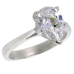 Sterling-Silver-Engagement-Ring-w-10mm-x-6mm-1-50-ct-Pear-Cut-CZ-Stone