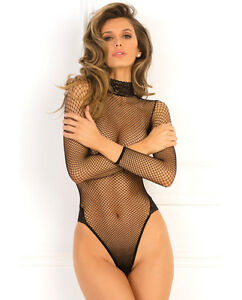 Image is loading FISHNET-BODYSUIT-HIGH-NECK-amp-THONG-BACK-TEDDY- 432ed01b9