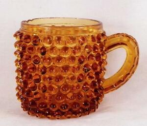 Antique-Amber-Hobnail-Mug-Early-American-Pressed-Glass-Flat-Victorian-Dark-As-Is
