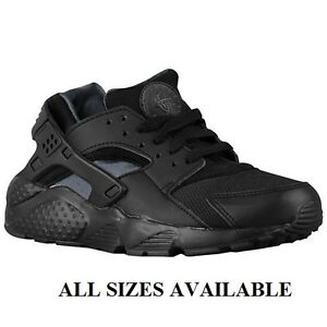 Image is loading Nike-Air-Huarache-Junior-GS-All-Black-Sizes-