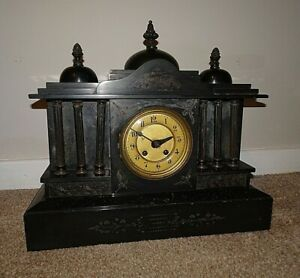 Antique-19th-Century-Architectural-Slate-Mantel-Clock-with-Columns-amp-Finials
