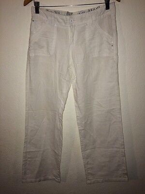 Hosen New Look Trousers White Diamanté Detail Linen Mix Size 10 <r5155 Damenmode