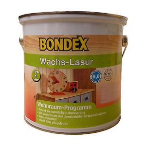 12 l bondex wachs lasur 2 5l wasserbasierte holzlasur f r innen farbwahl ebay. Black Bedroom Furniture Sets. Home Design Ideas