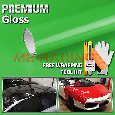 *Premium Gloss Glossy Green Vinyl Car Wrap Sticker Decal Bubble Free Sheet Film