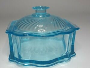 Vintage-footed-Glass-Lidded-Candy-Dish-light-Blue-depression-glass