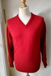 LYLE-amp-SCOTT-Wool-Jumper-Top-Designer-Red-Knitwear-Mens-Size-M-L-V-Neck