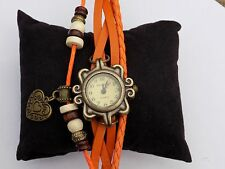 ladies quality Retro orange Leather Bracelet Heart Quartz Wrist Watch