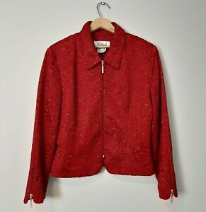 Joseph-Ribkoff-Trends-Womens-Size-14-Red-Crinkle-Rose-Texture-Dress-Jacket