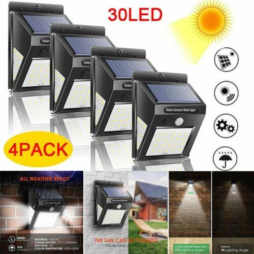 30//40 LED Solar Powered Motion Sensor Wall Security Light Waterproof Garden Lamp