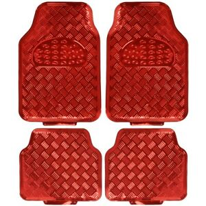 Vinyl Floor Mats >> Details About 4pc Rubber Vinyl Floor Mats Metallic Shiny Red Front Rear Heavy Duty