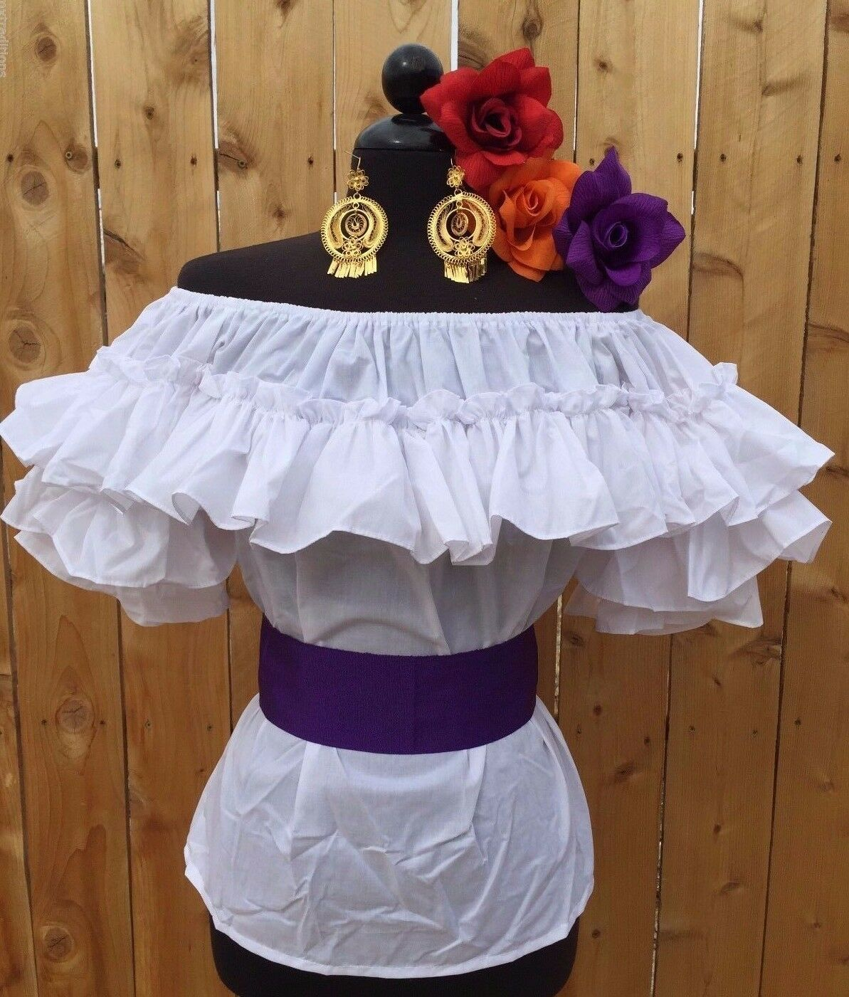 MEXICAN BLOUSE FIESTA,5 DE MAYO OR WEDDING ON OFF SHOULDER SASH INCLUDED