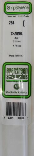 Evergreen Strip Styrene 263. 4 Pieces .100 Channel