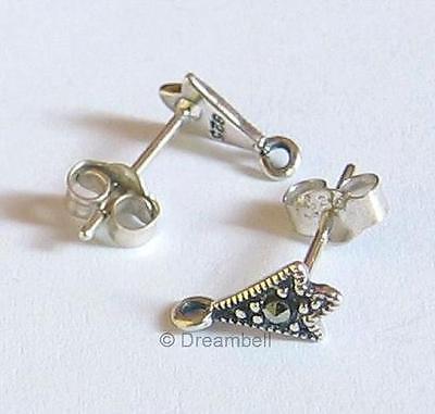 2x Sterling Silver Marcasite Earring Stud Loop Post 14mm
