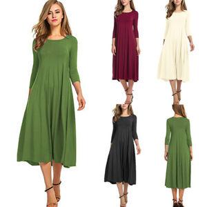 c8c580813d0 Nouvelle mode femmes manches 3/4 robe longue casual lâche taille ...