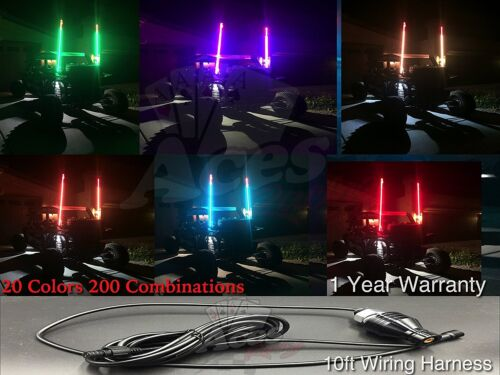Aces Racing 4ft 20 Color 200 Combination LED Lighted Whip-UTV-ATV-RZR-Off-Road