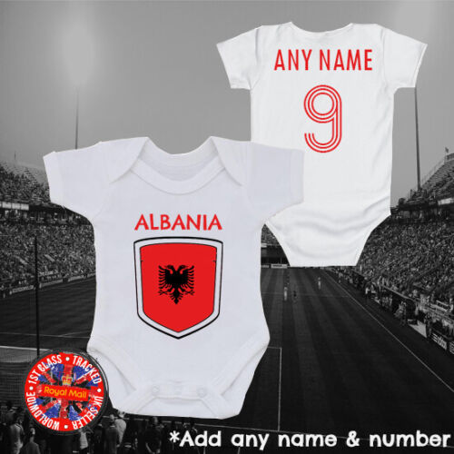 Albania Personalised Football Babygrow Vest Soccer Gift Euros World Cup