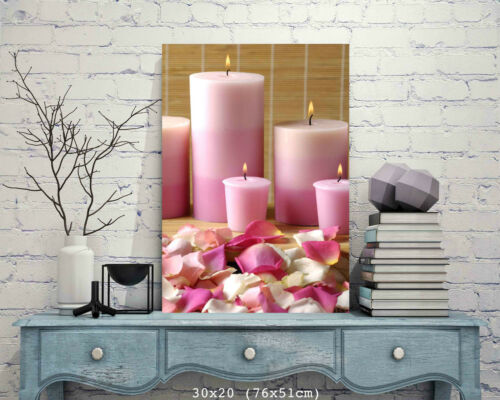 BEAUTIFUL SPA CANDLES CANVAS PICTURE #58 STUNNING FLORAL HOME DECOR A1 CANVAS