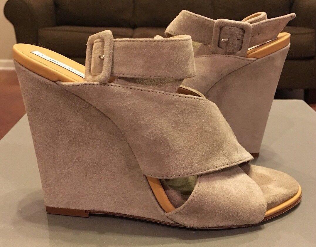 Diane Von Furstenberg Wynne Suede Criss Cross Wedge Heels Sandal 7 Nude Grey 1 2