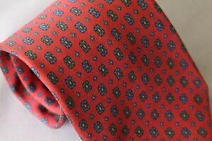 Luciano Barbera Dusty Red Rosette Neat Print Ancient Madder Necktie Silk Tie EUC