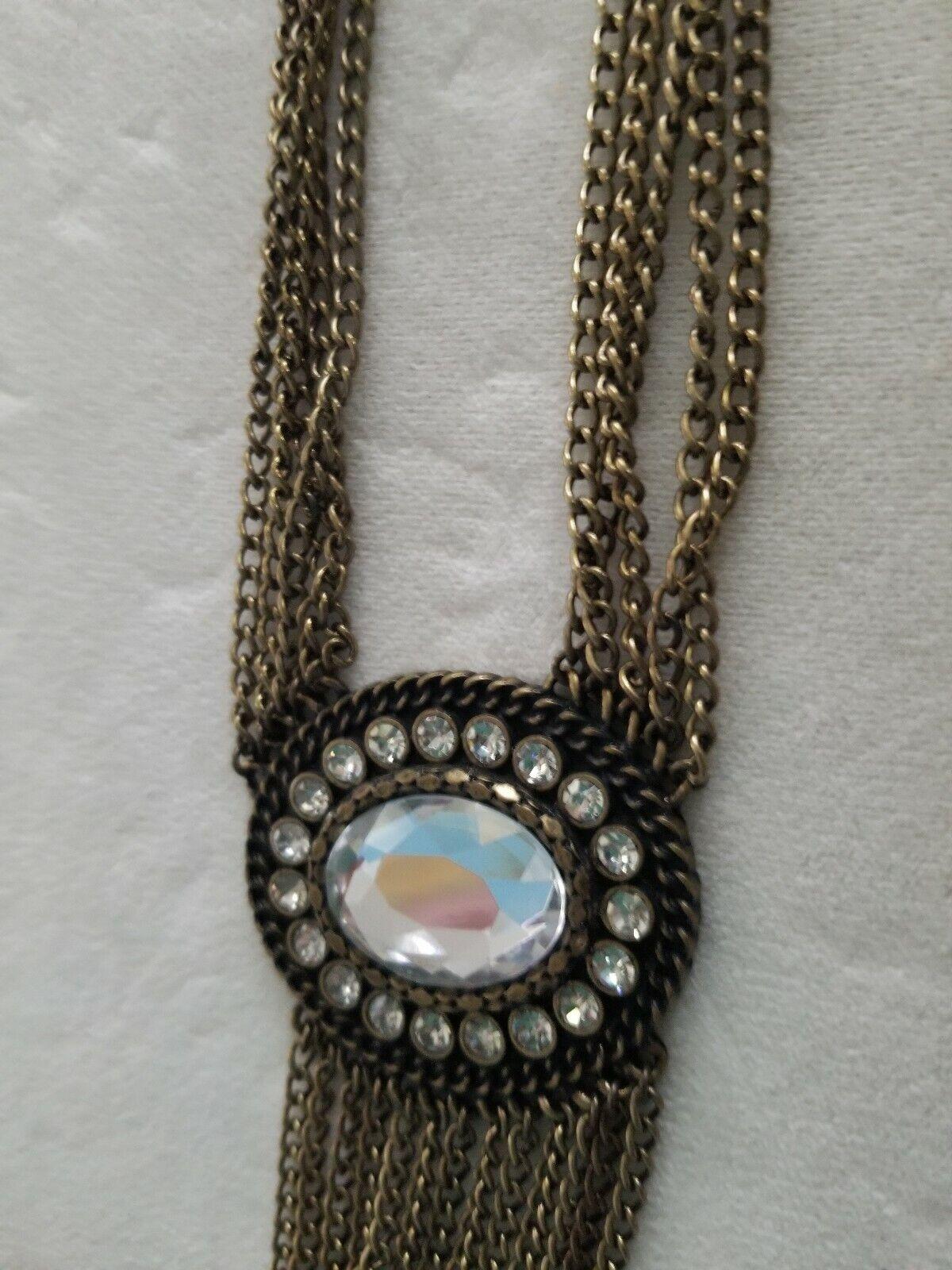 Multi Chain Large Rhinestone Necklace  - image 3
